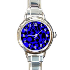 Blue and black abstract decor Round Italian Charm Watch