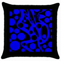 Blue and black abstract decor Throw Pillow Case (Black)