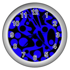 Blue and black abstract decor Wall Clocks (Silver)
