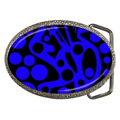 Blue and black abstract decor Belt Buckles