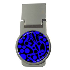 Blue and black abstract decor Money Clips (Round)