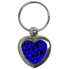 Blue and black abstract decor Key Chains (Heart)