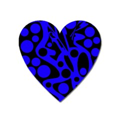 Blue and black abstract decor Heart Magnet