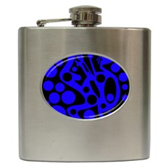 Blue and black abstract decor Hip Flask (6 oz)