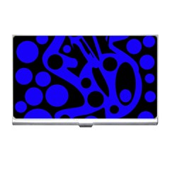 Blue and black abstract decor Business Card Holders
