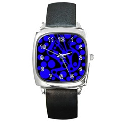 Blue and black abstract decor Square Metal Watch