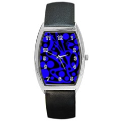 Blue and black abstract decor Barrel Style Metal Watch