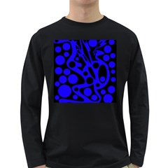 Blue and black abstract decor Long Sleeve Dark T-Shirts