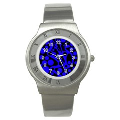 Blue and black abstract decor Stainless Steel Watch
