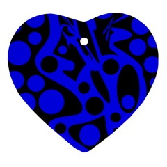 Blue and black abstract decor Heart Ornament (2 Sides)