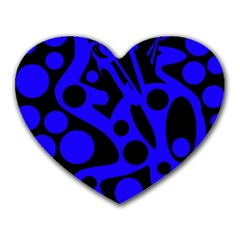 Blue and black abstract decor Heart Mousepads