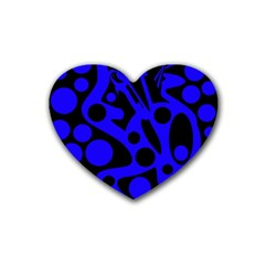 Blue and black abstract decor Heart Coaster (4 pack)