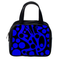 Blue and black abstract decor Classic Handbags (One Side)