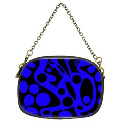 Blue and black abstract decor Chain Purses (Two Sides)