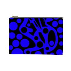 Blue and black abstract decor Cosmetic Bag (Large)