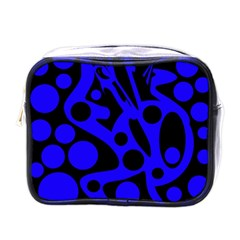 Blue and black abstract decor Mini Toiletries Bags