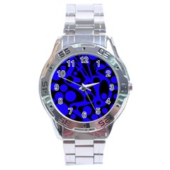 Blue and black abstract decor Stainless Steel Analogue Watch