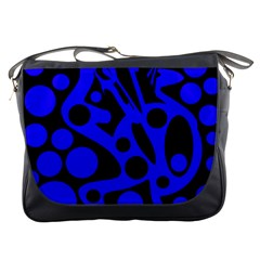 Blue and black abstract decor Messenger Bags