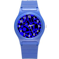 Blue and black abstract decor Round Plastic Sport Watch (S)