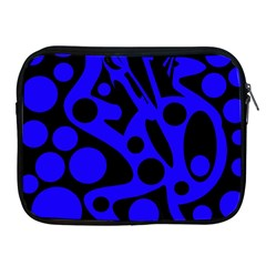 Blue and black abstract decor Apple iPad 2/3/4 Zipper Cases