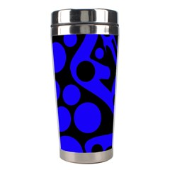 Blue and black abstract decor Stainless Steel Travel Tumblers