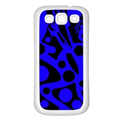 Blue and black abstract decor Samsung Galaxy S3 Back Case (White)