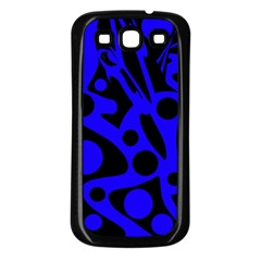 Blue and black abstract decor Samsung Galaxy S3 Back Case (Black)