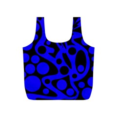 Blue and black abstract decor Full Print Recycle Bags (S)