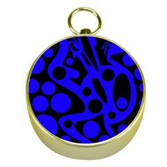 Blue and black abstract decor Gold Compasses