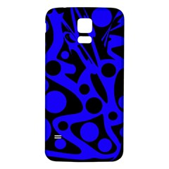 Blue and black abstract decor Samsung Galaxy S5 Back Case (White)