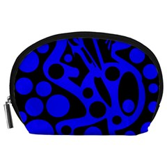 Blue and black abstract decor Accessory Pouches (Large)