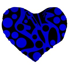 Blue And Black Abstract Decor Large 19  Premium Flano Heart Shape Cushions