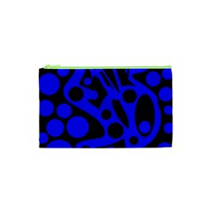 Blue and black abstract decor Cosmetic Bag (XS)