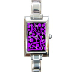 Purple and black abstract decor Rectangle Italian Charm Watch