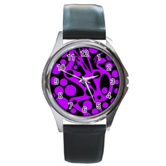 Purple and black abstract decor Round Metal Watch