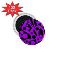 Purple and black abstract decor 1.75  Magnets (100 pack)