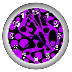 Purple and black abstract decor Wall Clocks (Silver)