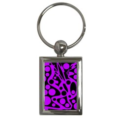 Purple and black abstract decor Key Chains (Rectangle)