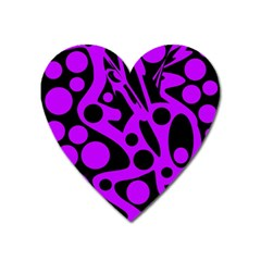 Purple and black abstract decor Heart Magnet