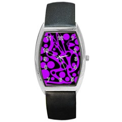 Purple and black abstract decor Barrel Style Metal Watch