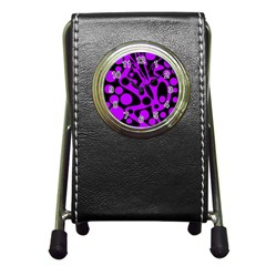 Purple and black abstract decor Pen Holder Desk Clocks