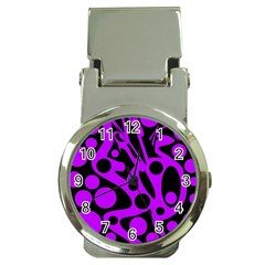 Purple and black abstract decor Money Clip Watches