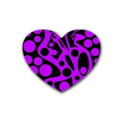 Purple and black abstract decor Rubber Coaster (Heart)