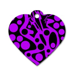 Purple and black abstract decor Dog Tag Heart (Two Sides)