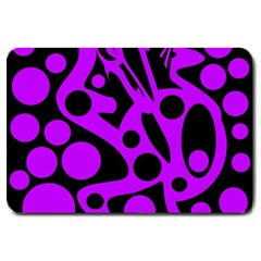 Purple and black abstract decor Large Doormat