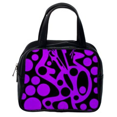 Purple and black abstract decor Classic Handbags (One Side)