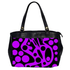 Purple and black abstract decor Office Handbags (2 Sides)