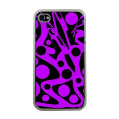 Purple and black abstract decor Apple iPhone 4 Case (Clear)