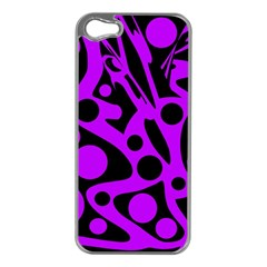 Purple and black abstract decor Apple iPhone 5 Case (Silver)