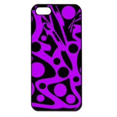 Purple and black abstract decor Apple iPhone 5 Seamless Case (Black)